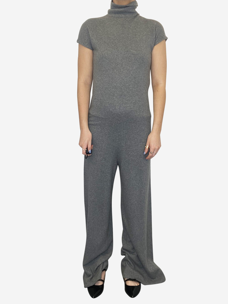 Grey short sleeve high neck wool jumpsuit - size IT 40
