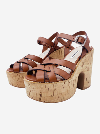 Brown cross over peep toe cork platforms - size EU 37