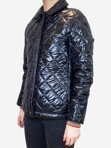 Black quilted puffer jacket with embroidered TB logo- size XS