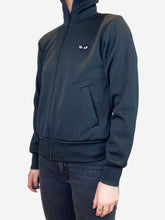 Load image into Gallery viewer, Black zip up track jacket with logo - size S