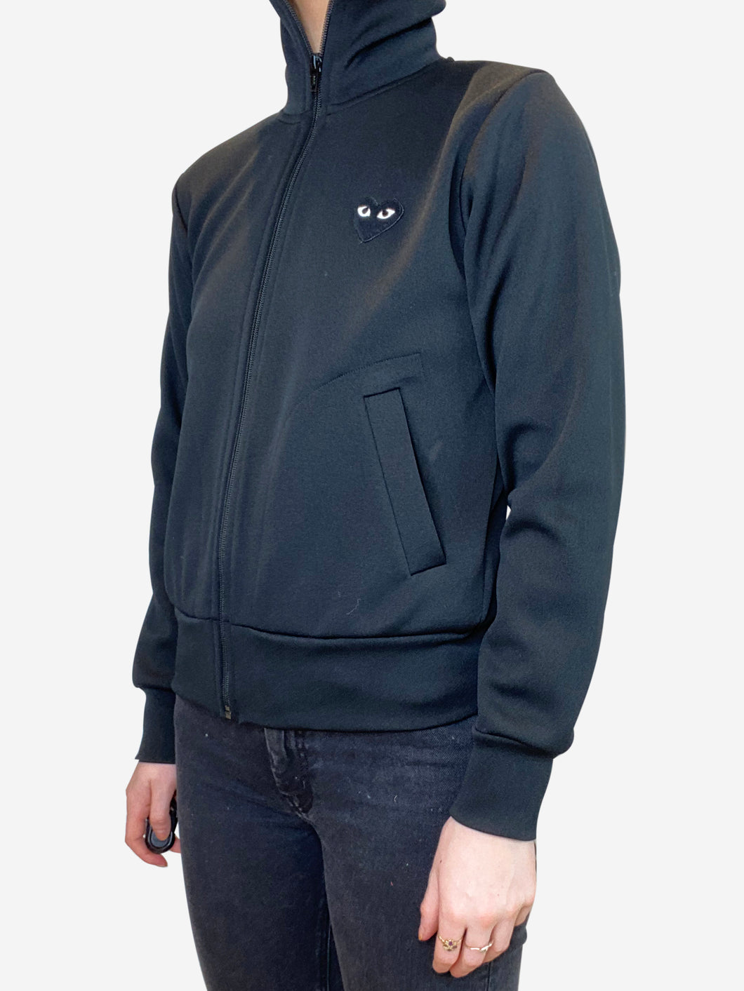 Black zip up track jacket with logo - size S