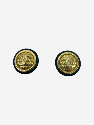Vintage gold and black CC clip on earrings