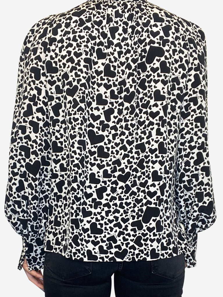 Black and white heart print silk blouse - size XS