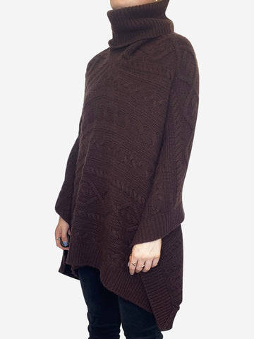 Brown cashmere trench roll neck poncho - size S