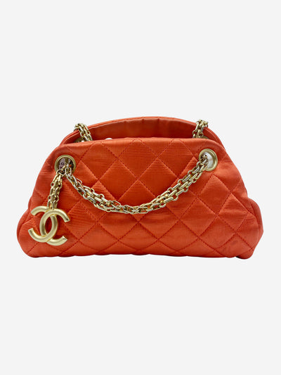 Mademoiselle coral satin quilted bag