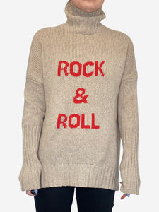"Alma beige & red ""rock and roll"" turtleneck sweater - size XS"