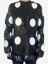 Load image into Gallery viewer, Black and white sequin large polka dot cardigan jacket - size M