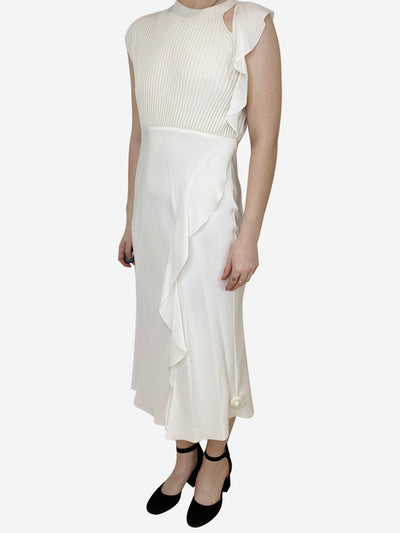 Cream midi dress with knit vest insert - size UK 8