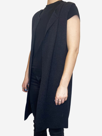 Charcoal sleeveless cashmere cardigan - size S