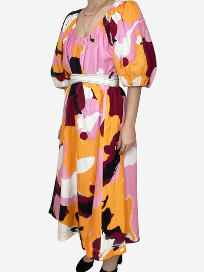 Pink and yellow print dress with balloon sleeves and waist tie - size UK 8