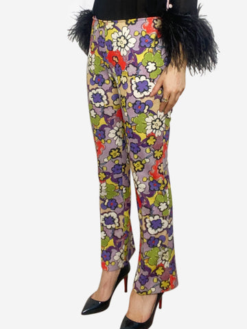 Purple & green floral print trousers - size IT 40