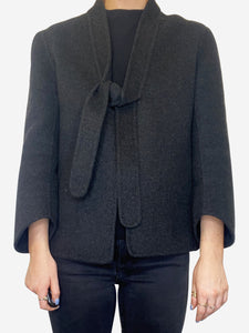 Cashmere charcoal short coat - size UK 10
