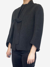 Load image into Gallery viewer, Cashmere charcoal short coat - size UK 10