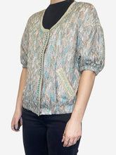 Load image into Gallery viewer, Turquoise and gold short sleeve cropped jacket - size M