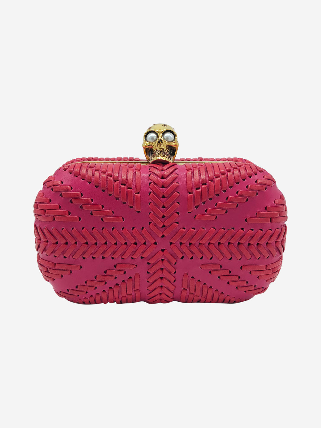 Pink skull woven leather box clutch
