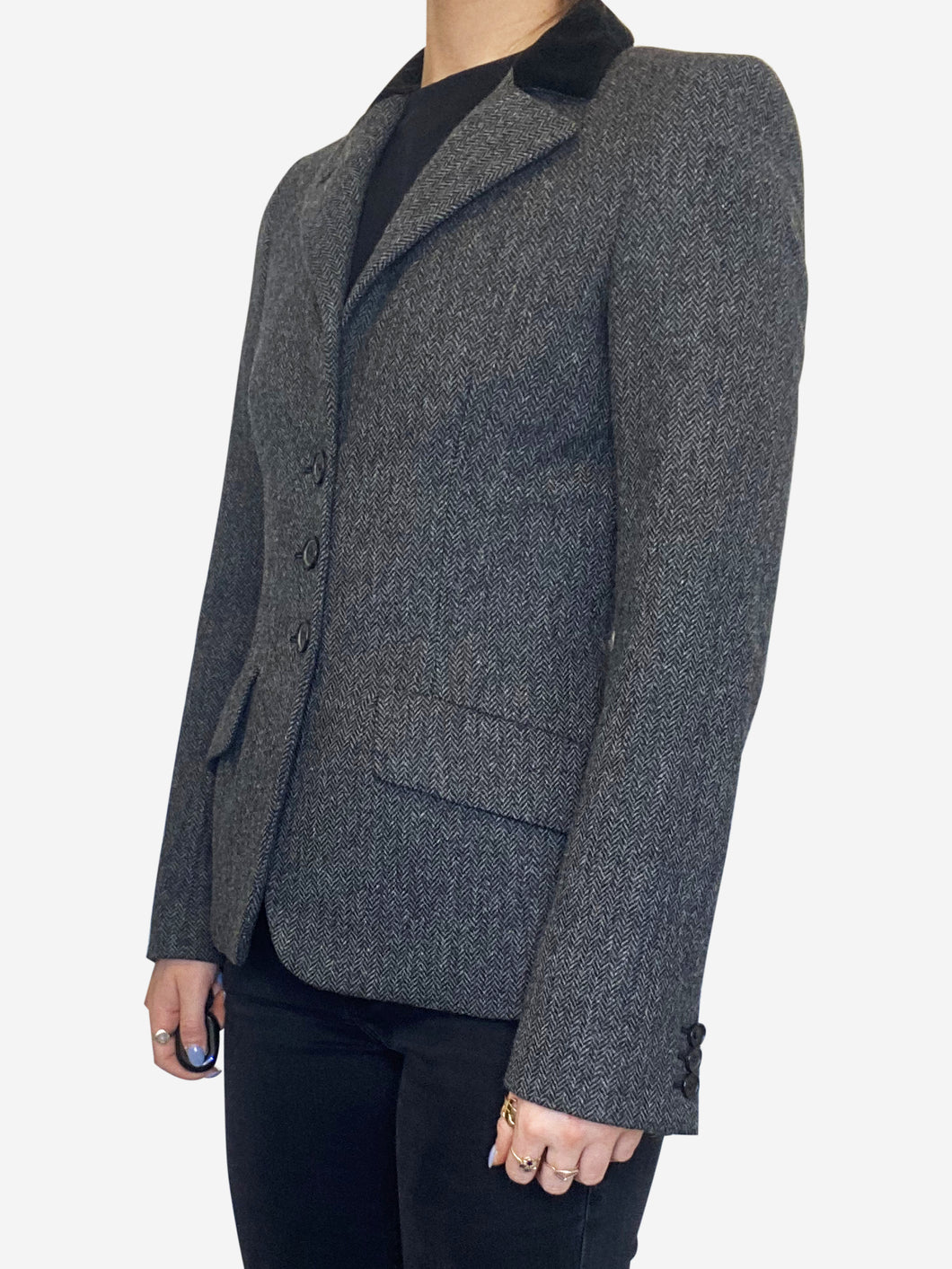 Black and grey wool tailored blazer - size UK 10
