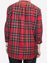 Load image into Gallery viewer, Red tartan shirt with pink PVC collar - size L