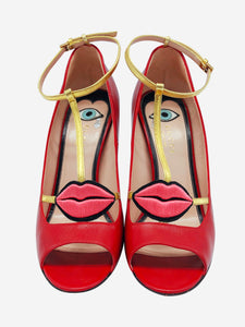 Red and gold heels with embroidered lips applique - size EU 38.5