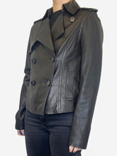 Load image into Gallery viewer, Black leather double breasted jacket - size S