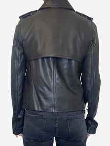 Black leather double breasted jacket - size S