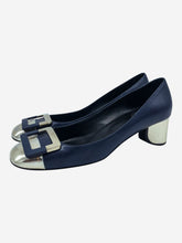 Load image into Gallery viewer, Blue & Gold low heels with buckle - size 38.5