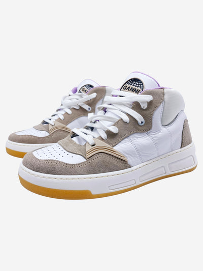 White, beige and lavender mid top trainers - size EU 38
