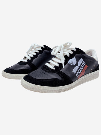 Black skate leather trainers with red and white logo print- size EU 38