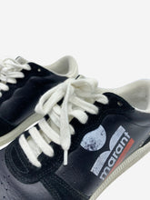Load image into Gallery viewer, Black skate leather trainers with red and white logo print- size EU 38
