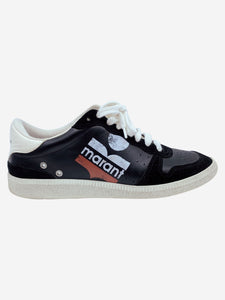 Isabel Marant Black skate leather trainers with red and white logo print- size EU 38