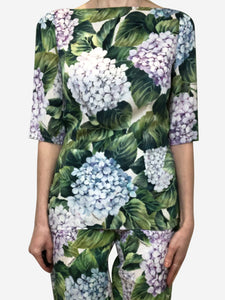 Dolce & Gabbana Green, white, purple & blue floral print top - size IT 42