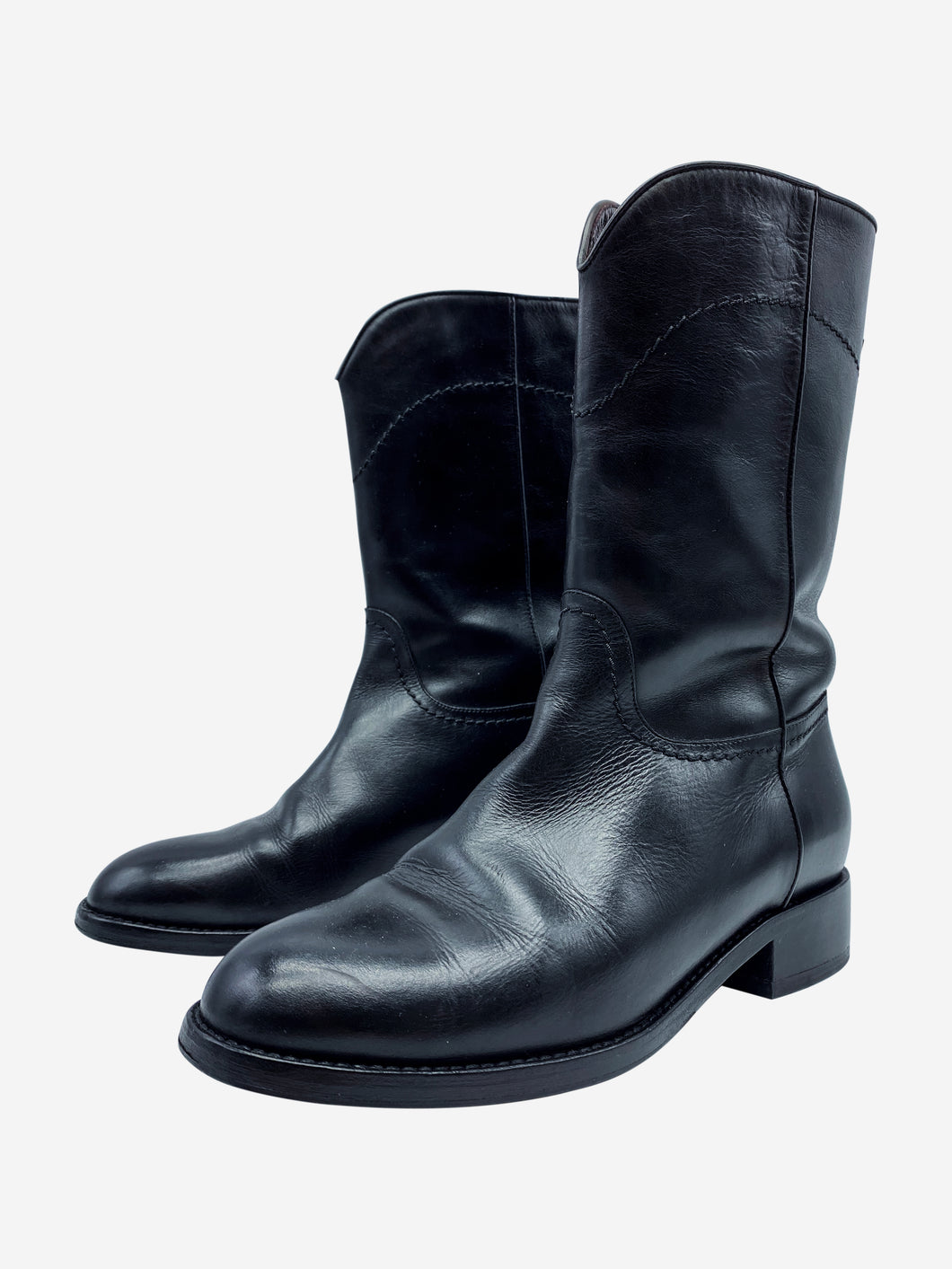 Black pull-on leather boots with CC logo - size EU 37