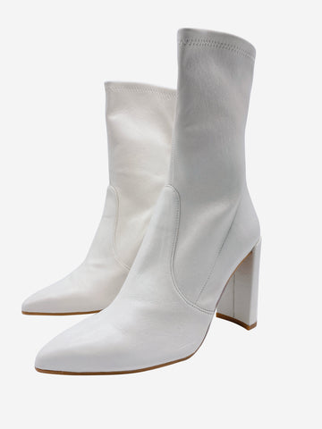 Cream mid calf pointed toe heeled boots - size EU 40