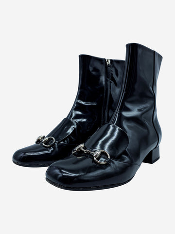 Black patent leather boots with horse bit silver hardware- size EU 38.5