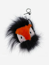 Load image into Gallery viewer, Navy & orange Fur Monster keychain