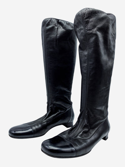 Black pull-on elasticated knee high boots - size EU 40