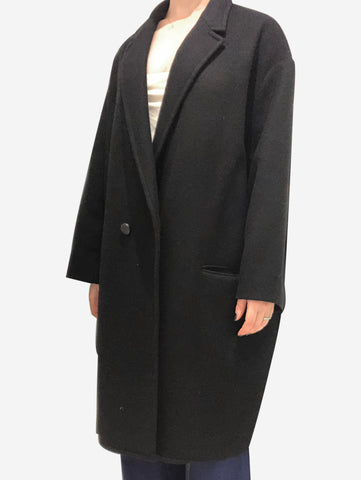 Black wool tailored coat - size FR 42