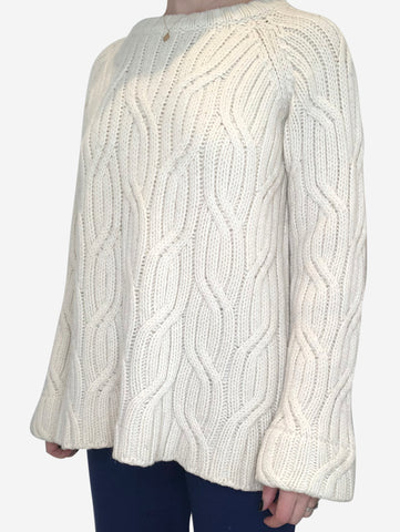 Cream chunky cable knit jumper - size M