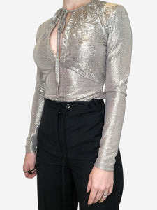Just Cavalli Silver long sleeve wrap top silver/gold - size 10