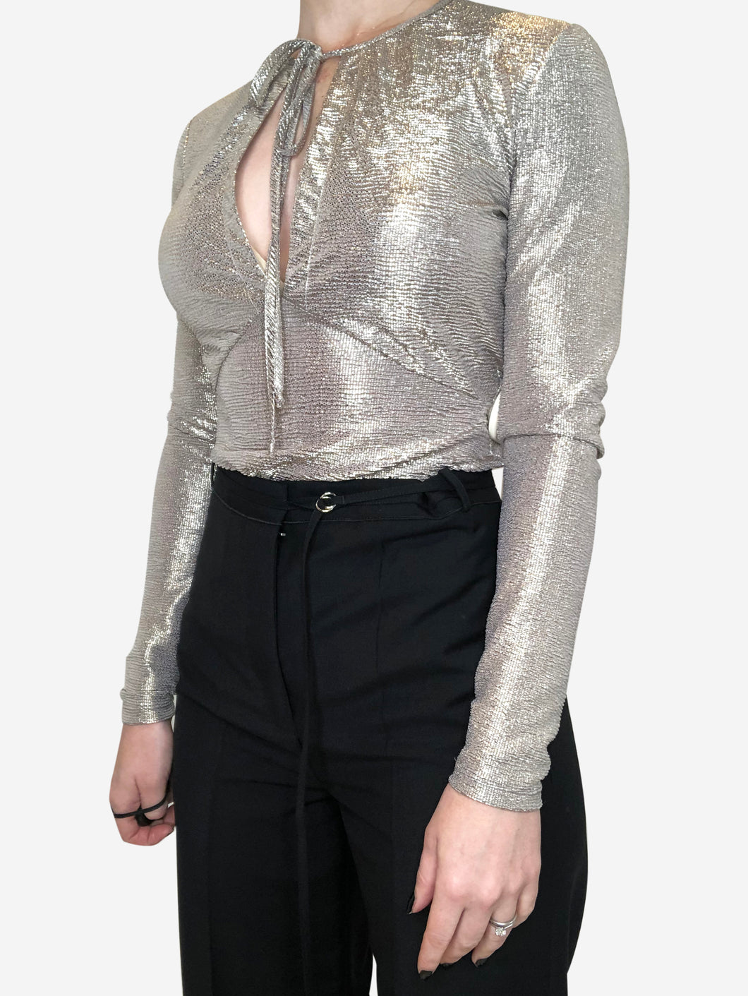 Silver long sleeve wrap top silver/gold - size 10