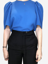 Load image into Gallery viewer, Blue ruffle shoulder short sleeves top - size 8