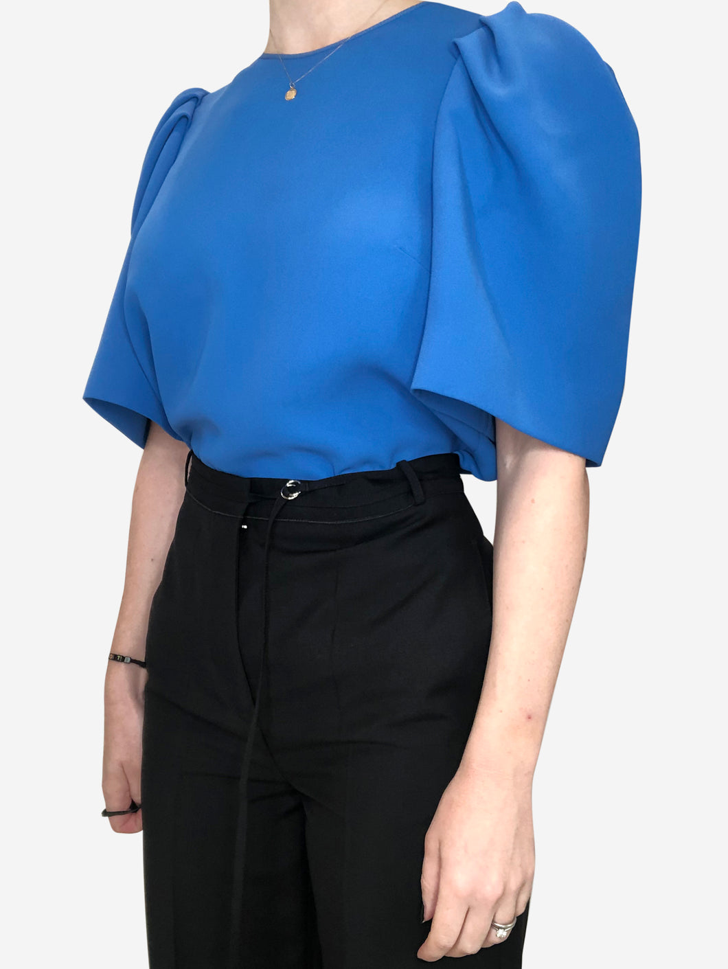 Blue ruffle shoulder short sleeves top - size 8