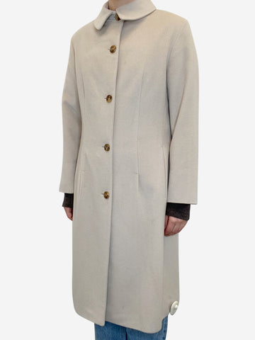 Cream 100% cashmere coat- size UK 10