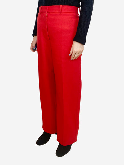 Red wool high waisted wide leg trousers - size FR 38