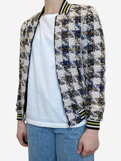 Cream & blue tweed bomber jacket - size XS