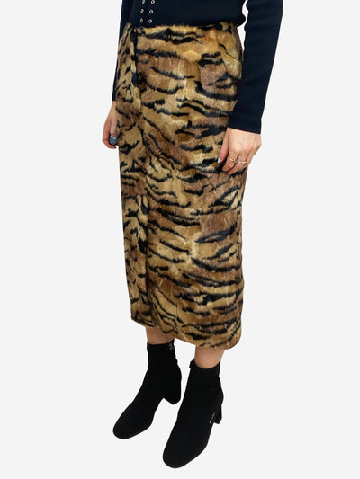 Faux fur tiger print midi skirt - size IT 40