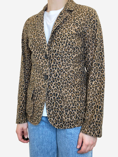Brown and tan animal print blazer jacket- size UK 12