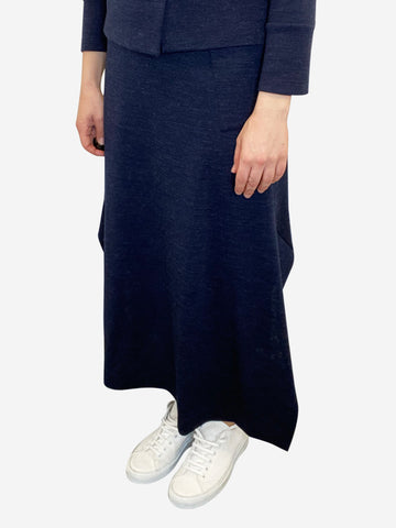 Navy wool midi skirt- size M