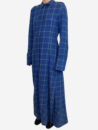 Blue and olive plaid flannel midi dress with side slits- size UK 8