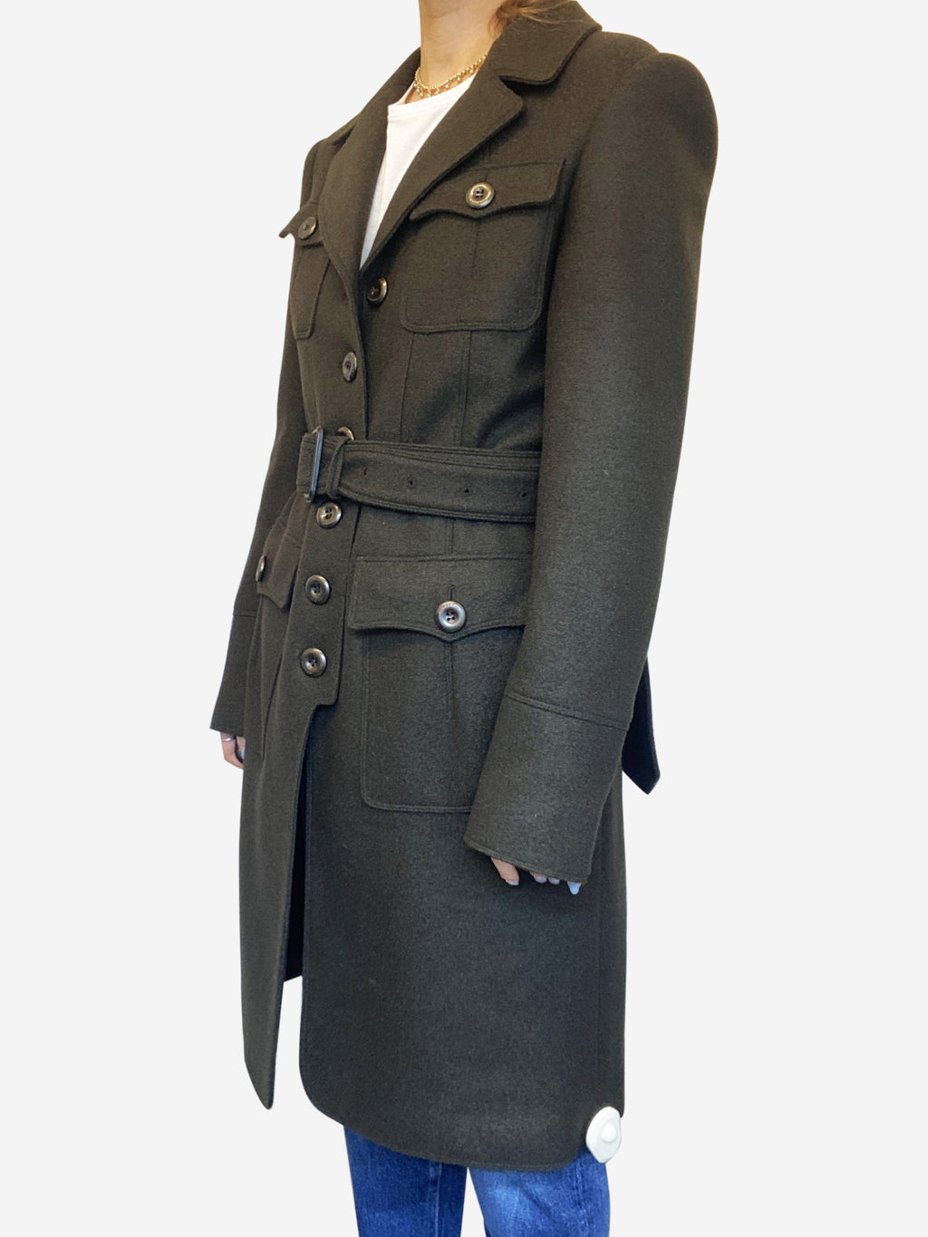 Khaki military style coat with brown leather belt - size S