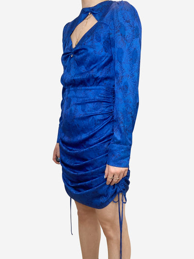 Royal blue mini dress with cutout- size UK 8